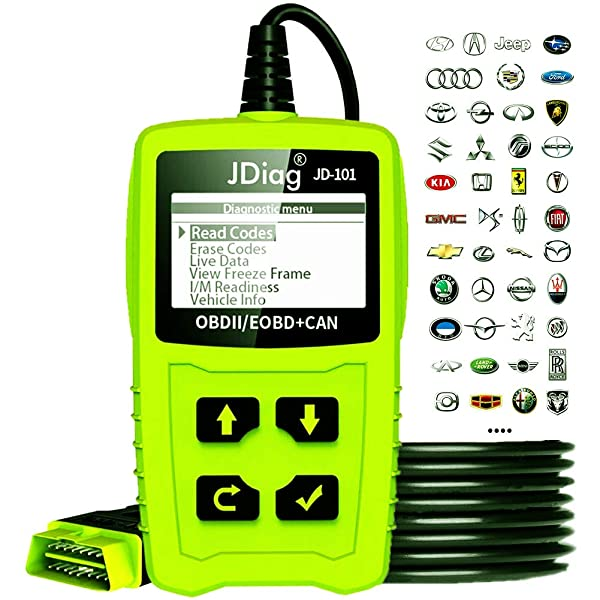 Clear Erase Fault Wrong Code for All Cars After 1996 JDiag JD101 Car Auto Code Reader OBD2 OBDII EOBD Scanner Diagnostic Scan Tool Check Engine Light with Battery Testing Function