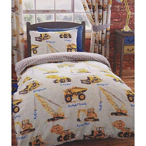 Kids Club Boys Dumper Trucks Design Quilt Cover Bedding Set (Twin, Full) (Twin) (Gray)
