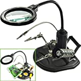 LED Light Helping Hands Magnifier Station - FEITA 2.5X/4X Lighted Heavy Base Magnifying Glass Stand with Auxiliary Clamp Alligator Clips - for Soldering, Assembly, Repair, Workshop, Hobby and Crafts (Color: Black)
