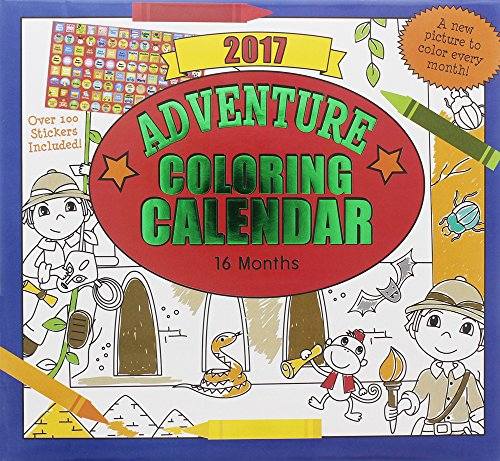Paper Craft 2017 Kids Childrens 16 Month Calendar with over 100 Stickers (Adventure Coloring) (Laminated Times Table Chart compare prices)