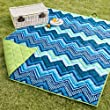 Chevron Pattern Blue Green Lawn Picnic Blanket