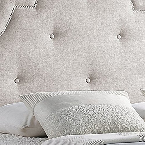 Baxton Studio Colchester Linen Modern Platform Bed, Queen, Light Beige