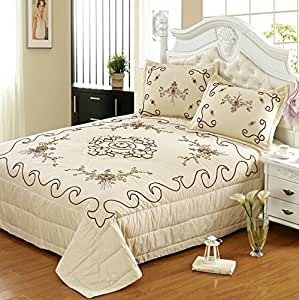 brandream luxury ivory floral quilted bedding