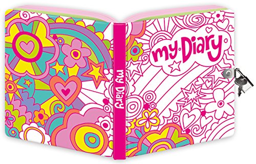 Peaceable Kingdom Rainbow World Color-In Shiny Foil Cover Lock and Key Diary - 1