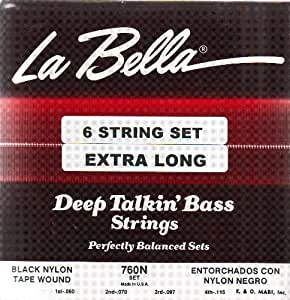 la bella electric bass guitar black nylon tape wound 6 string extra long 38 wound. Black Bedroom Furniture Sets. Home Design Ideas