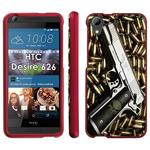 HTC 626 Desire 626S Phone Cover, Punisher Hand Gun - Rose Pink Slim Guard Armor Phone Case for HTC 626 Desire 626S