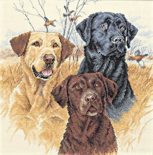 A brown pet dog cross stitch pattern for free.