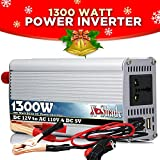 1300 Watt 12 Volts DC to 110 Volts AC outlets Power Inverter With USB Port - Excellent in Powering up Household Appliances During Power Outages - Heavy Duty Components Inside - Durable Reinforced Interior Panels - High Grade Quality Power Inverter- Ideal F