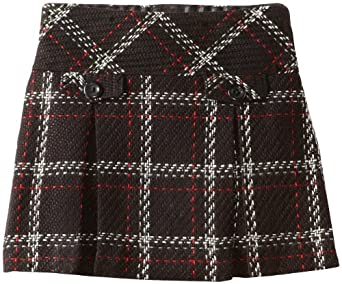 Hartstrings Little Girls' Toddler Girl Boucle Skort, Black Plaid, 2T