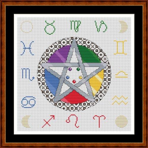 Cross Stitch Chart / Pattern (Stickvorlage / Muster) - ASTRO PENTAGRAM [ PDF on a CD ] (PDF auf einer CD)