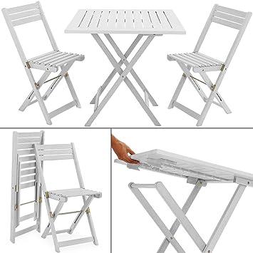 Salon de balcon2 chaises 1 table pliantes bois huilé acacia jardin ...