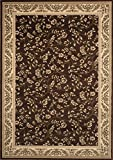 "Floral Brown Transitional 5' 3"" X 7' 3"" High Quality Area Rug"