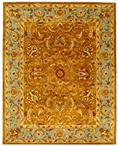 Safavieh Heritage Collection HG812B Handmade Blue and Brown Hand-Spun Wool Area Rug, 8-Feet  3-Inch by 11-Feet
