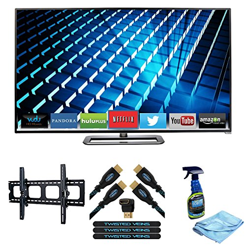 Vizio M602I-B3 60-Inch 1080P Smart Led Tv + Digicom Pma-5031 Super Thin Flat/Tilt Wall Mount For Flat Panel Televisions Up To 80 Inches + Twisted Veins 6Ft High Speed Hdmi 2 Pack + Flat Screen, Lcd, Plasma & Tv Screen Cleaner