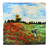Aqueena Women's 100% Luxury Square Silk Scarf-Claude Monet's Paintings