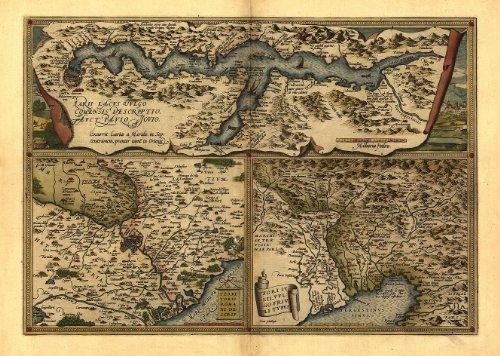 Riproduzione Mappa Antica di Italia, Italia, Lake Como, Roma, Venice (Repubblica Italiana) by Abraham Ortelius A1 Misura 78 x 57 cm