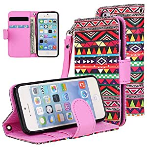 iPhone SE / 5S / 5 Case Cover, iPhone SE Flip Case - E LV Deluxe PU Leather Folio Wallet Flip Case Cover for Apple iPhone SE / 5S / 5 - Colorful Tribal