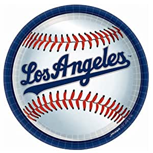Amscan Los Angeles Dodgers Round Dinner Plates, 9""