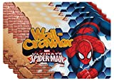 Zak! Designs Placemat with Ultimate Spiderman Graphics, Set of 4, BPA-free Plastic