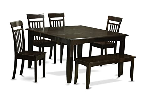 East West Furniture PFCA6-CAP-W 6-Piece Dining Table Set, Cappuccino Finish