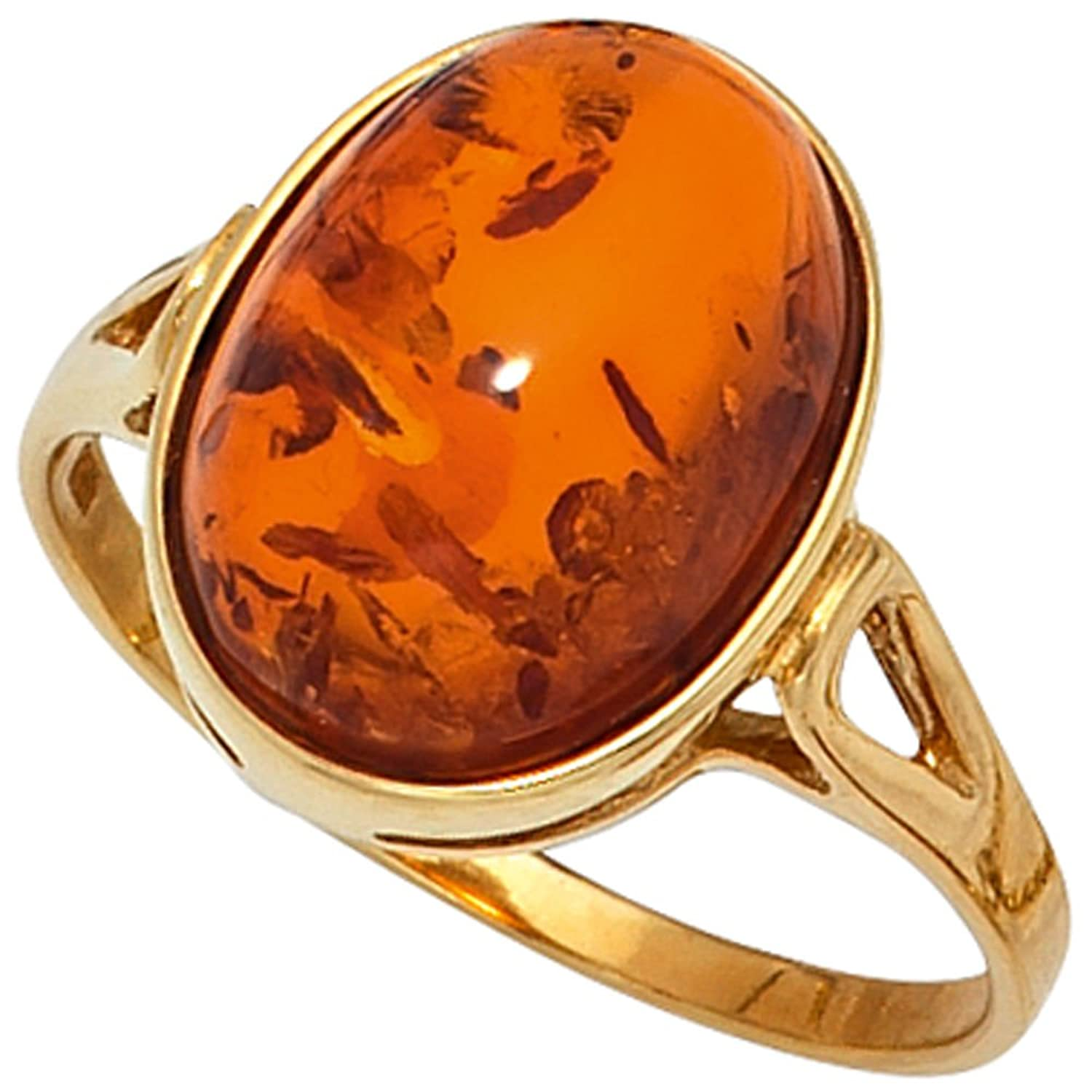 Damen Ring 375 Gold Gelbgold 1 Bernstein orange Bernsteinring Goldring günstig