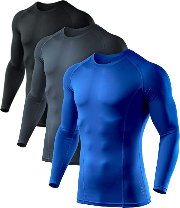 Mens Cool Dry Compression Long Sleeve Baselayer Athletic Sports T-Shirt Top