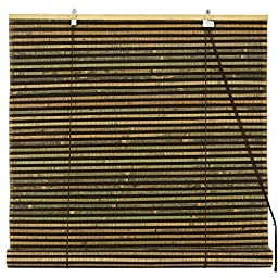 Oriental Furniture Burnt Bamboo Roll Up Blinds - Multi-Color - (36 in. x 72 in.)