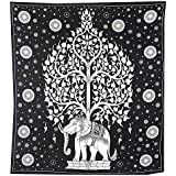BLACK AND WHITE ELEPHANT AND TREE WALL HANGING / THROW By Uberdelic