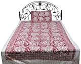 Exotic India Gray and Red Single-Bed Bedspread from Pilkhuwa with Printed Hearts - Pure Cotton with