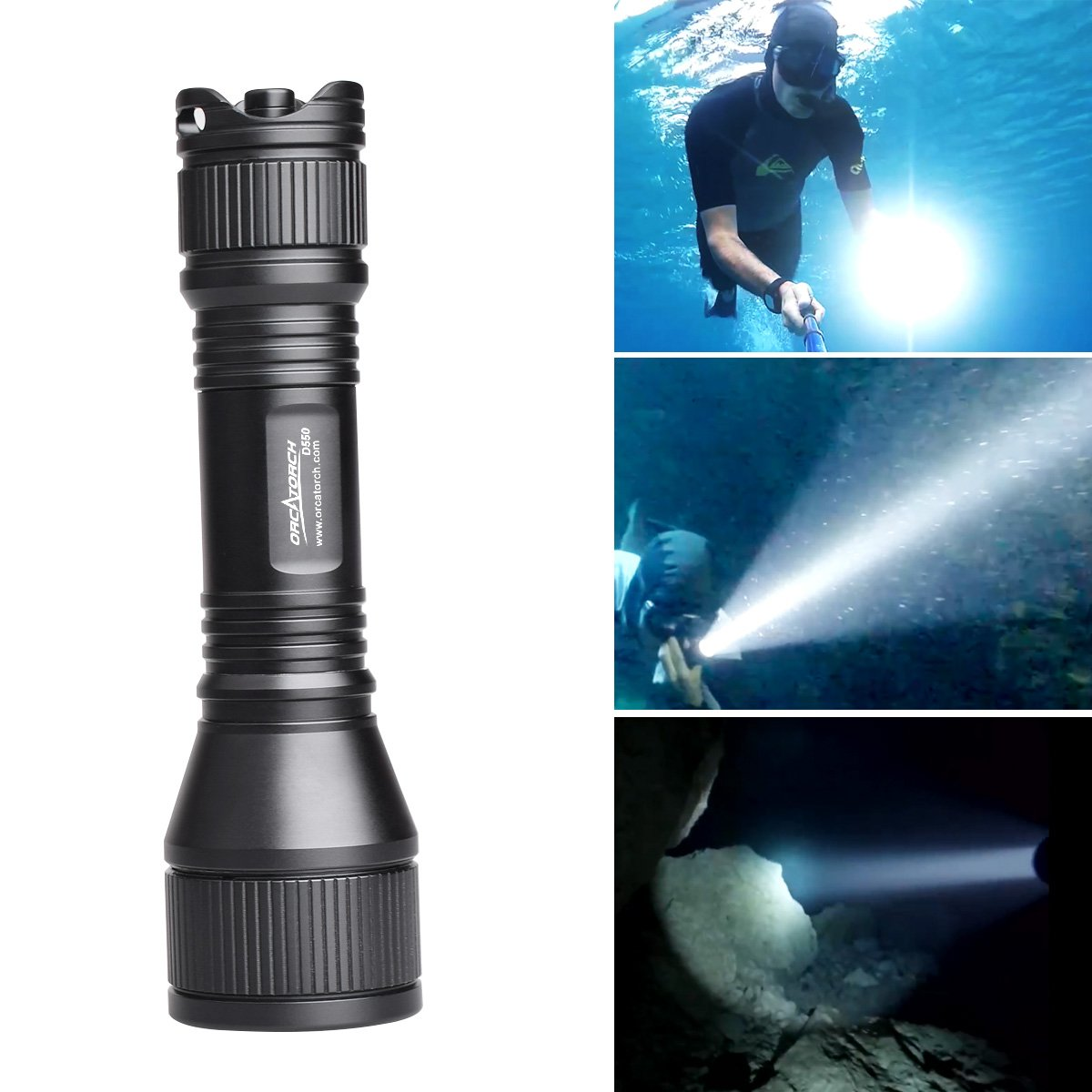 ORCATORCH D550 970 LM Diving Flashlight Underwater Scuba Diving Light, XM-L2 LED Submarine Flashlight