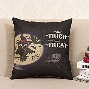 Throw Pillow Cover Pattern With Zipper : Amazon.com: Ackershop trick treat owl pattern pillowcase 18 X 18 inch Zippered Throw pillow ...