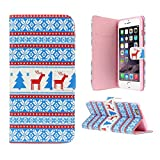 Christmas iphone 6 case for 4.7 Standard Apple phone. Reindeer & Trees Clamshell Wallet. Great Gift or Stocking Filler