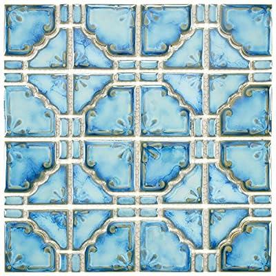 """SomerTile FKOMB21 Moonlight Diva Porcelain Floor and Wall Tile, 11.75"""" x 11.75"""", Blue"""