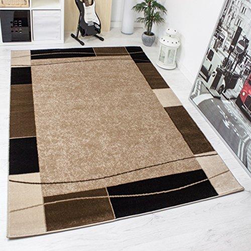 Teppich-Kariert-Retro-Muster-Meliert-in-Braun-Schlafzimmer-Wohnzimmer-KO-TEX-Zertifiziert-Mae80x150-cm