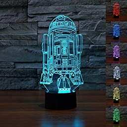NIEBC Starwars R2-D2 3D 7-Color Gradual Changing LED Touch Switch Visualization Illusion Atmosphere Nightlight