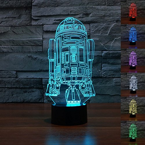 NIEBC Star Wars Stormtrooper 3D 7-Color Gradual Changing LED Touch Switch Visualization Illusion Atmosphere Light Desklamp Nightlight (R2-D2)