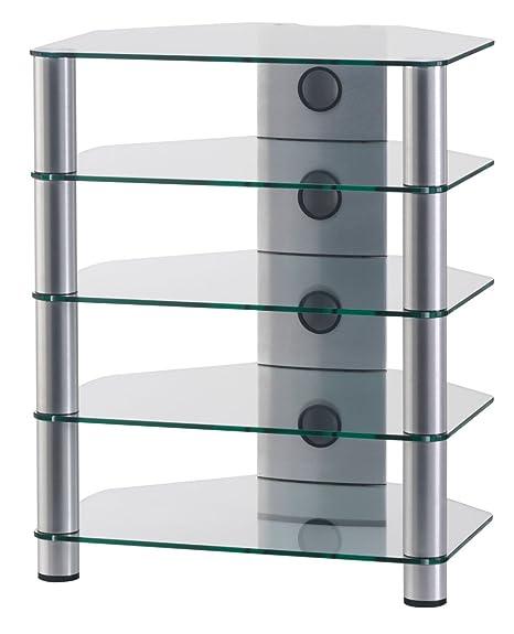 SONOROUS RX-2150 T-SILVER - Mobile per HIFI in vetro ed alluminio, con 5 ripiani separati. Colore: Transparente / Argento
