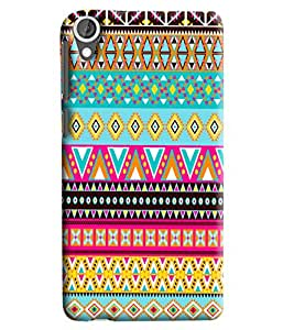 Blue Throat Triangular Pattern Printed Designer Back Cover/Case For HTC Desire 820