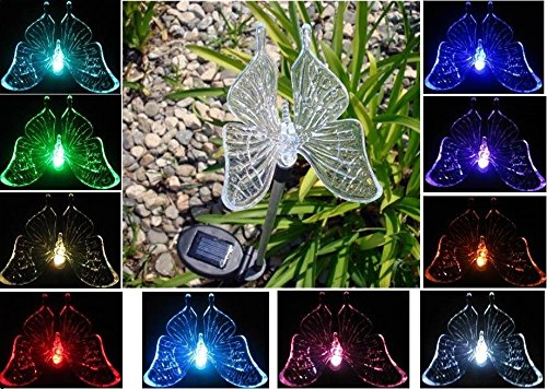 """New'' Solar Powered Garden Decor Stake Color Changing Yard Led Outdoor Landscape Light (Butterfly)"