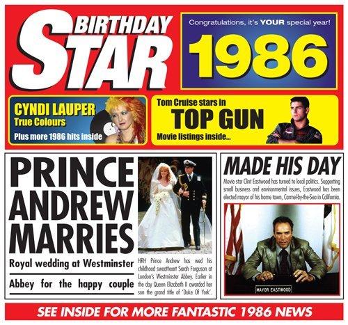 1986 Birthday Gift - 1986 Chart Hits CD and 1986 Birthday Card
