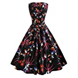 FimKaul Dress,Women Vintage Strawberry Printed Sleeveless Casual Cocktail Prom Dress (XXL, Black)