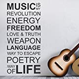 DESIGNSCAPE-Wandtattoo-Music-is-my-life-Music-is-my-revolution-energy-freedom-love-truth-weapon-language-way-to-escape-poetry
