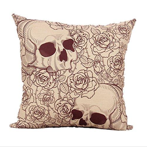 Chrafts Skull Colorful Cuscini di Cotone Stampato in Lino Divano Federa 45cm x 45cm