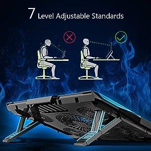 Carantee Laptop Cooling Pad 5 Quite Fans Notebook Cooler Pad USB Powered, 7 Level Adjustable Mount Stands, Blue LED Light (Color: Black, Tamaño: 12-17)