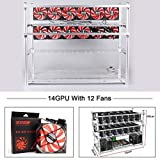 Aluminum 14 GPU Mining Rig Case with 12 PCS 120mm Case Fan, Stackable Open Air Frame Miner Case for ETH/ETC/ZCash/Cryptocurrency(Red Fans,Silver) (Color: 14GPU_RedFan_silver)