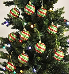 Festive Season Christmas Tree Ornaments - 10pk 60mm Shatterproof Green/Gold/Red