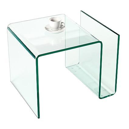 Extravaganter Glas Couchtisch GHOST Beistelltisch mit Ablagefach fur Magazine transparent