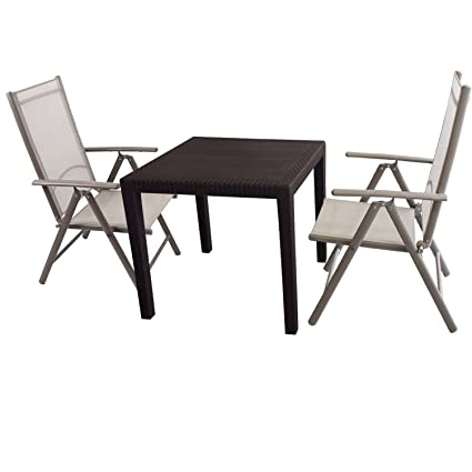 3tlg. Bistro- Balkonmöbel Set Kunststoff Gartentisch mit Rattan-Look 79x79cm + 2x Aluminium Hochlehner, hochwertige Textilenbespannung, 7-fach verstellbar, klappbar Gartengarnitur