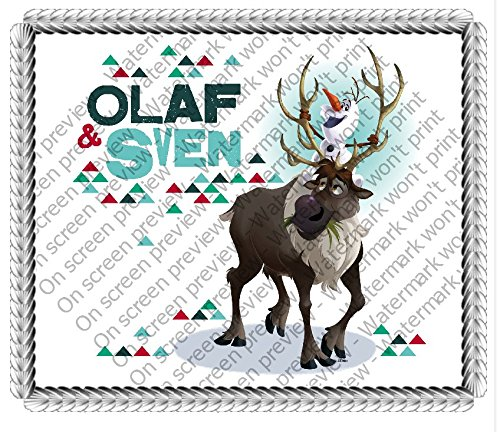 "Frozen Olaf & Sven Edible Image Cake Topper Decoration (6"" Round) - 1"