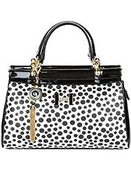 PRAGEE Polka Dot Women's PU Leather Black & White Hand Messenger Bag
